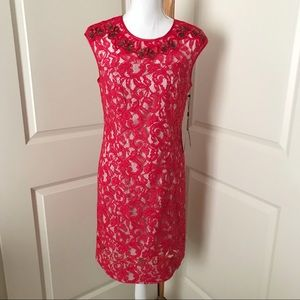 NWT ADRIANNA PAPELL Red Lace Midi Beaded Dress